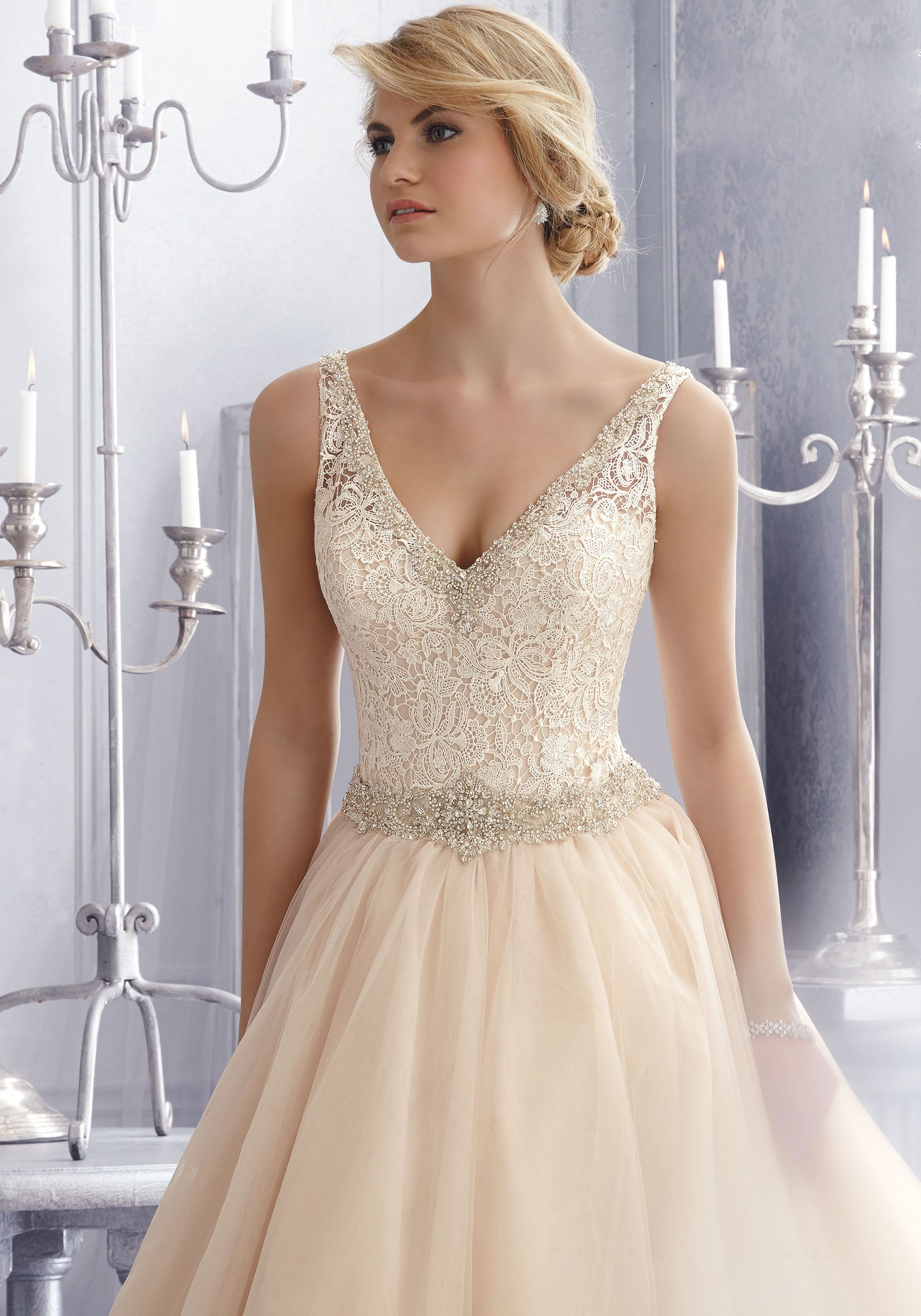 Wedding dresses with beading  Morilee Bridal Crystal Beaded Embroidery Trims Venice Lace on Tulle