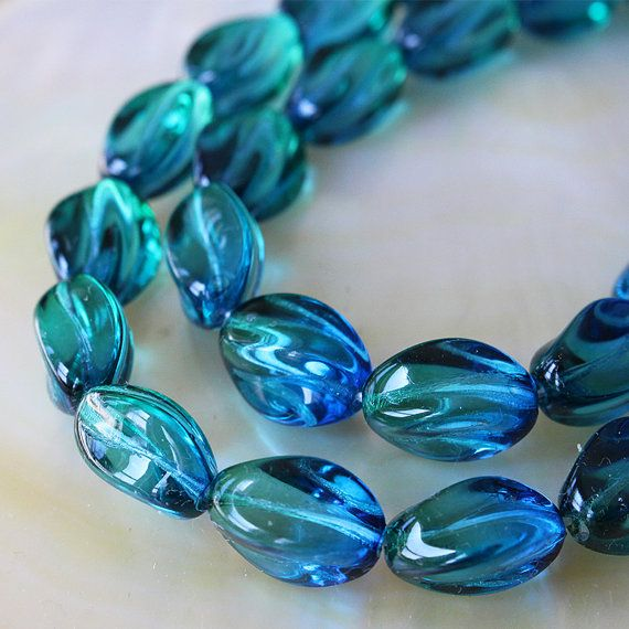 24 Blue//Green//Pink Glass Square Beads; Size 8.5mm