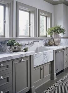 Love This Dark Grey Cabinets With White Marble Countertops Clean Kitchen E