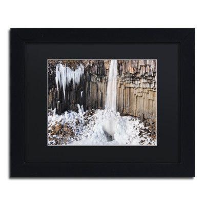 "Trademark Art 'Columns' by Michael Blanchette Framed Graphic Art Size: 11"" H x 14"" W x 0.5"" D, Matte color: Black"