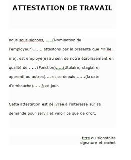 Exemples D Attestations De Travail Doc Word Modele Attestation Attestation Attestation De Salaire