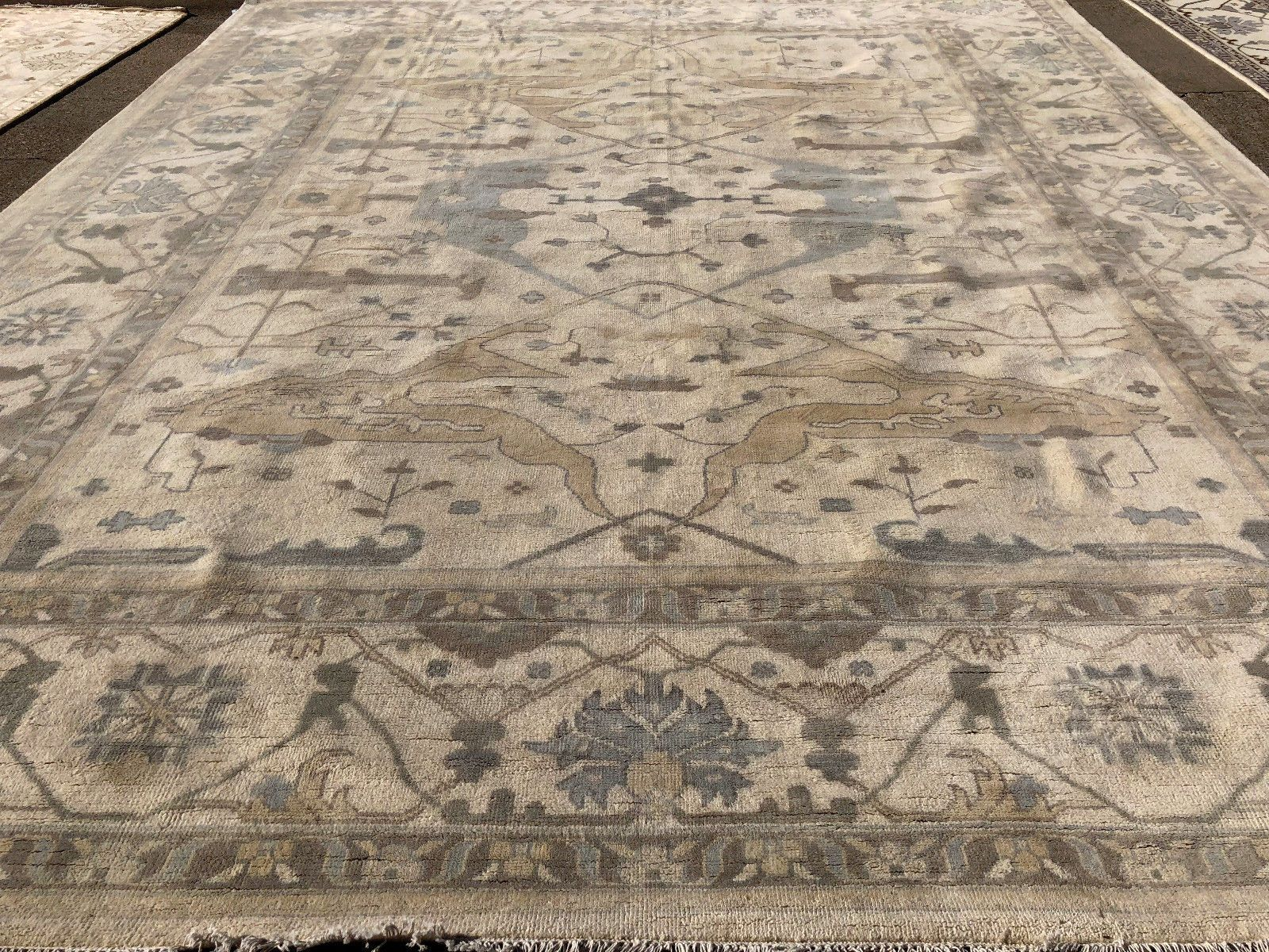 12x15 New Wool Ivory Oushak Rug Gray Hand Knotted Rugs Handmade