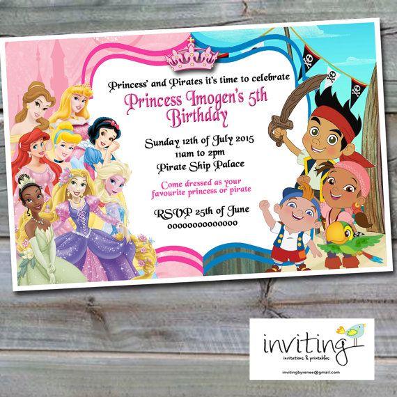 Princess And Pirates Invitation Girl Design Disney Princesses