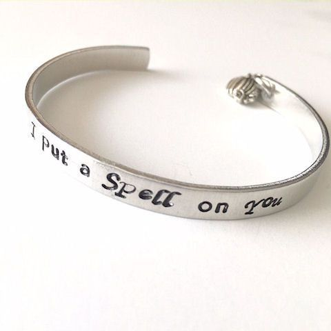 I Put a Spell on You Halloween Hand Stamped Cuff Bracelet