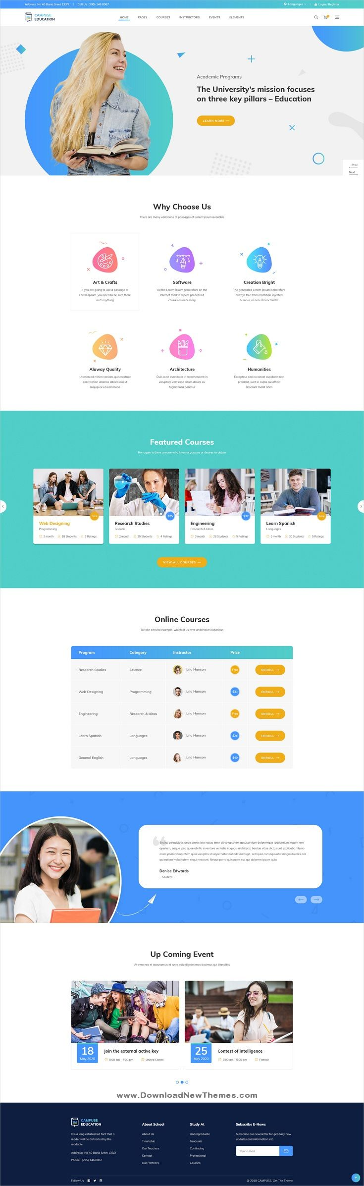 Campuse Is A Clean And Modern Design Psd Template For University School Online Learning Course Conferences And Educati Dizajn Veb Sajtov Veb Dizajn Sajt