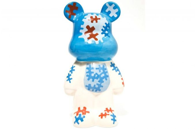 Spaarpot Bear Kare Ontwerp Funky wit / blauw puzzel, deco KARE DESIGN
