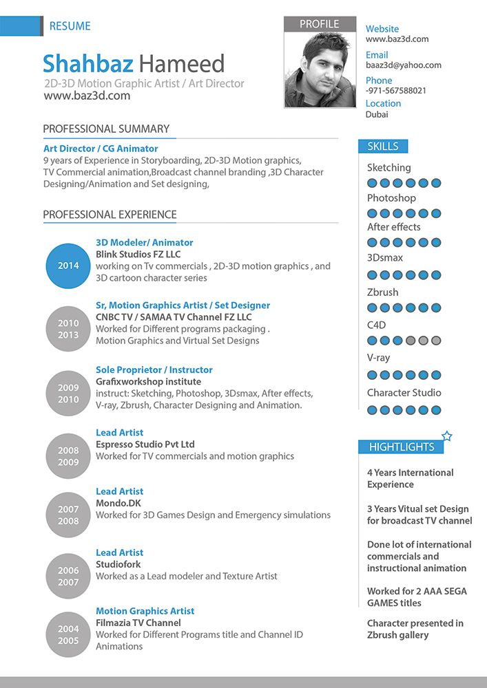 Shahbazresume Web Jpg 707 1000 Graphic Artist 3d Character Animation Channel Branding