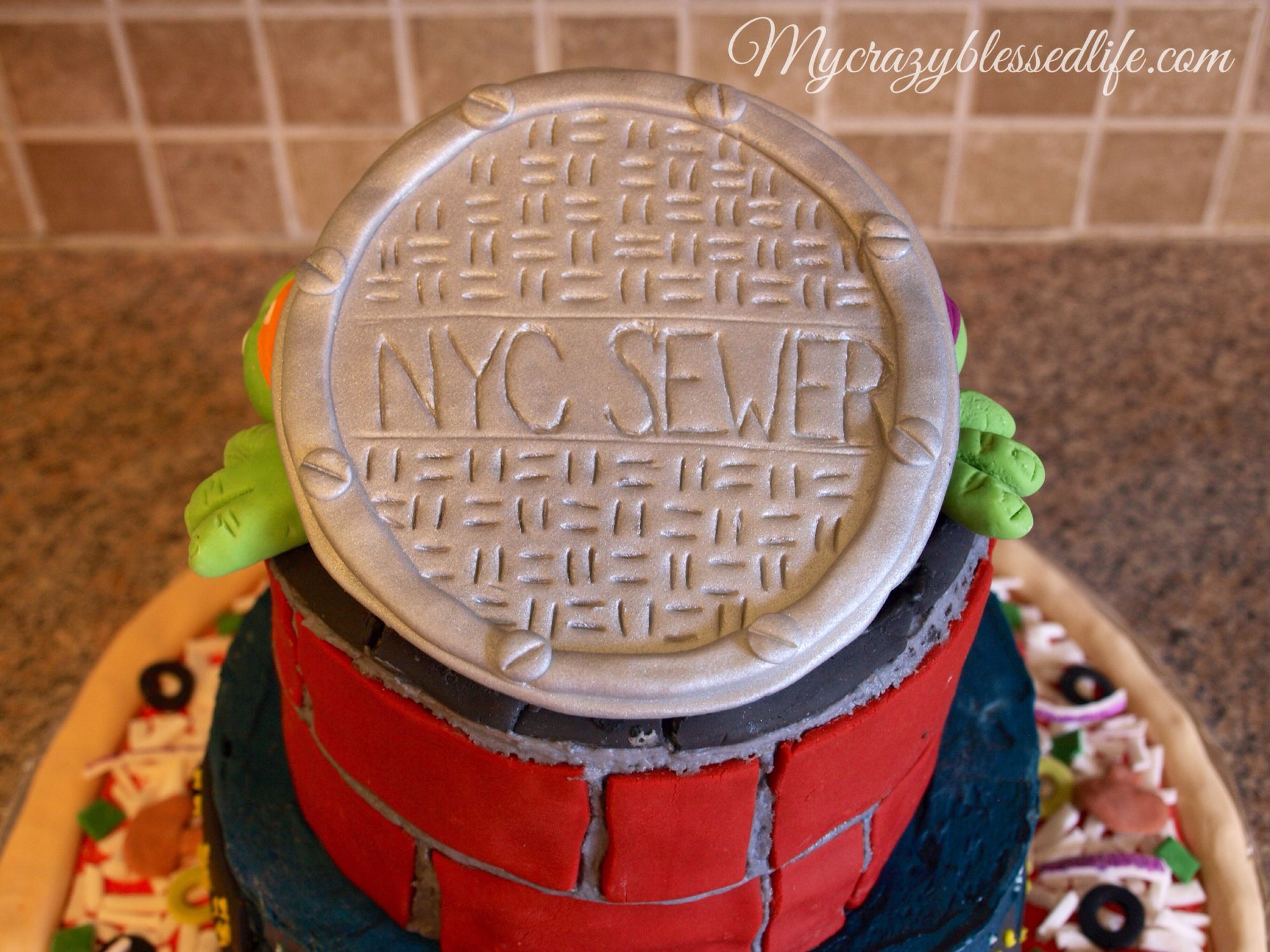 Fondant manhole cover for ninja turtle birthday cake