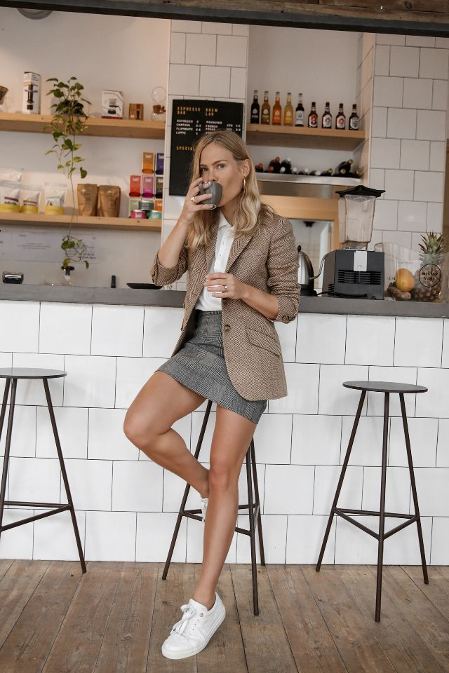 first-date outfit ideas, interview, or office style: brown tweed blazer and grey miniskirt