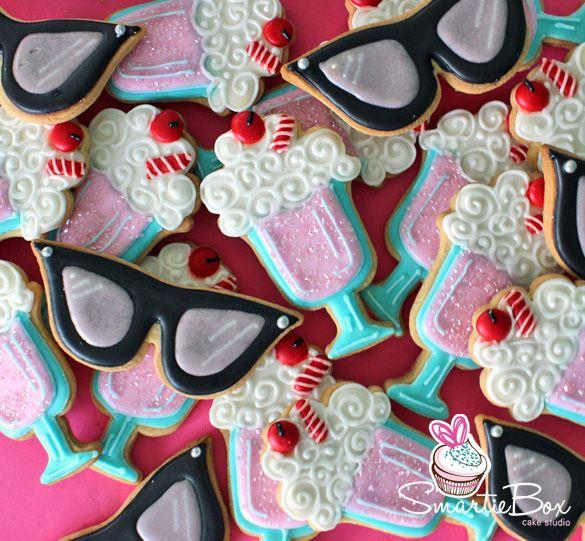 Retro Vintage Cookies with milkshake sundaes, and glasses - SmartieBox Cake Studio