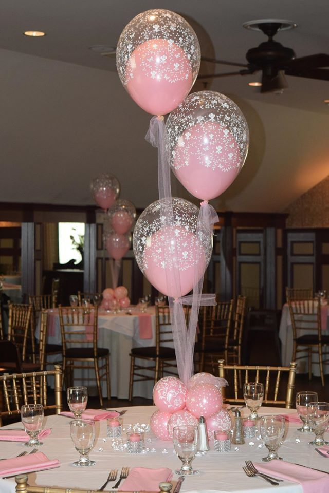 Baby shower christening balloon centerpieces flowers for Baby shower balloons decoration
