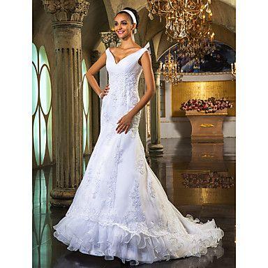 Trumpet/Mermaid Off-the-shoulder  Court Train Organza Wedding Dress – USD $ 249.99