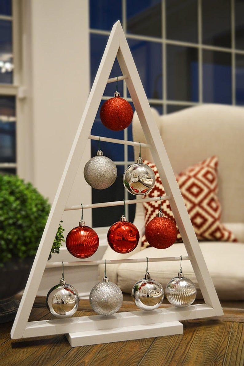 SALE White Aframe Christmas Tree Ornament Display