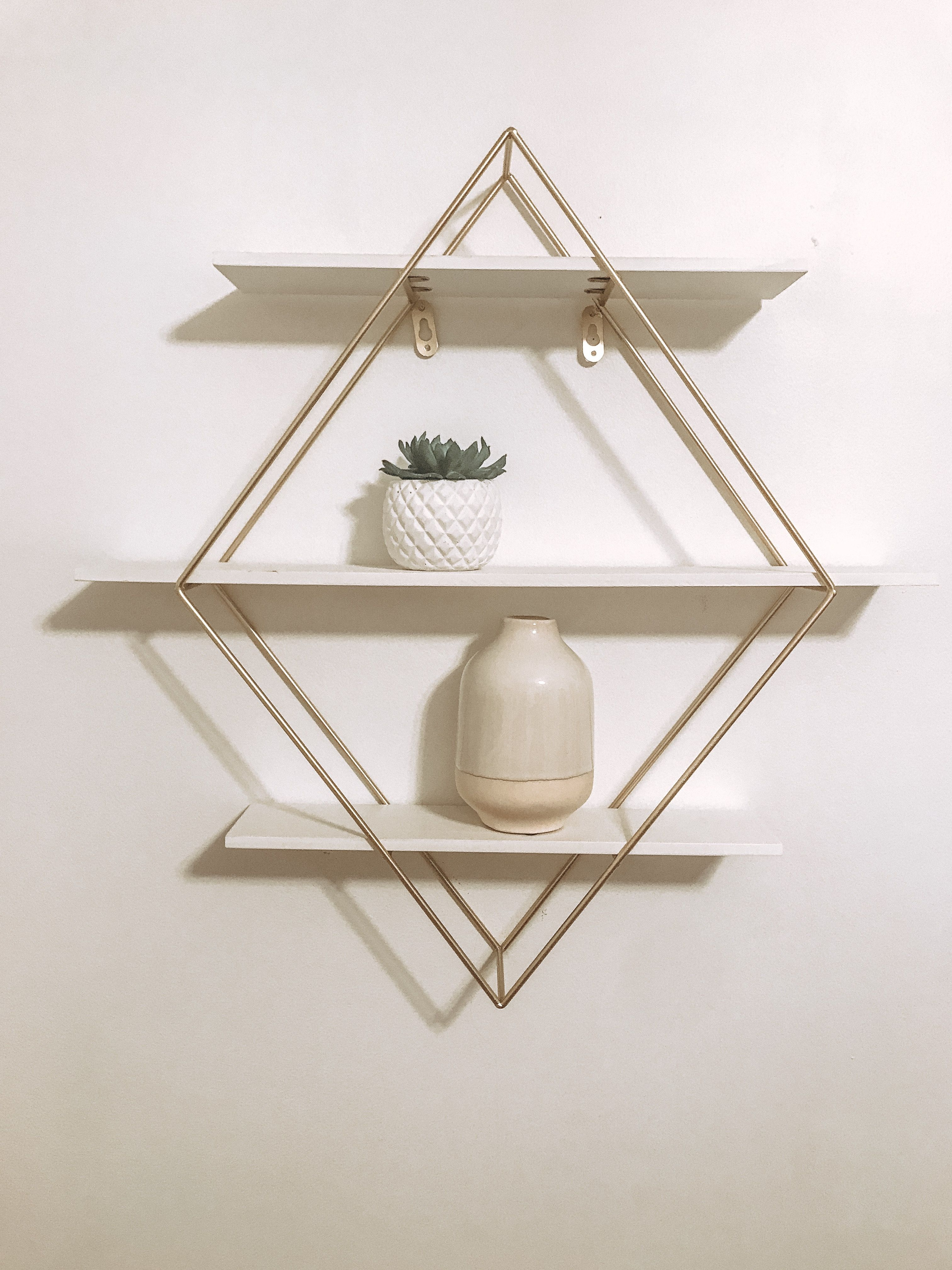 451fc18bb50 TJ Maxx triangular white and gold shelf! Succulent and vase purchased at TJ  Maxx as well! Super cute decor to fill spaces on walls!