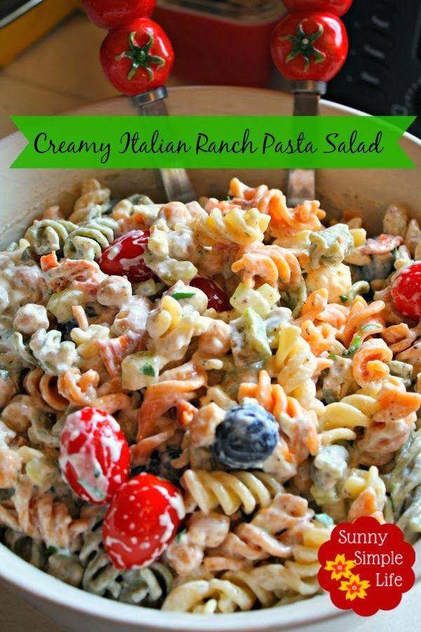 Creamy Italian Ranch Pasta Salad Ranch Pasta Pasta Salad