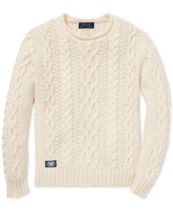 da21c502c5 Polo Ralph Lauren Big Boys Aran-Knit Cotton Sweater - Guide Cream L ...