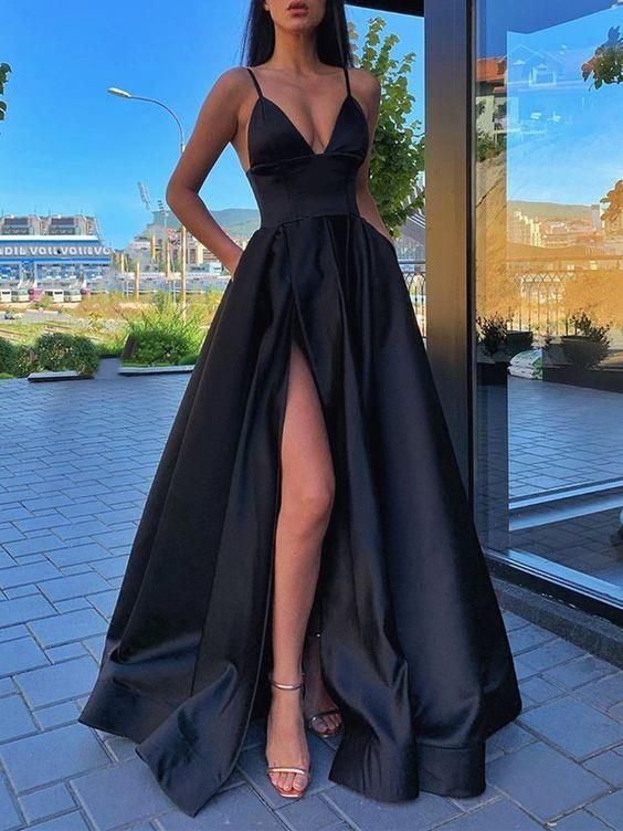 Charming Long Prom Dresses Modest Evening Dresses Sexy Slit Gowns