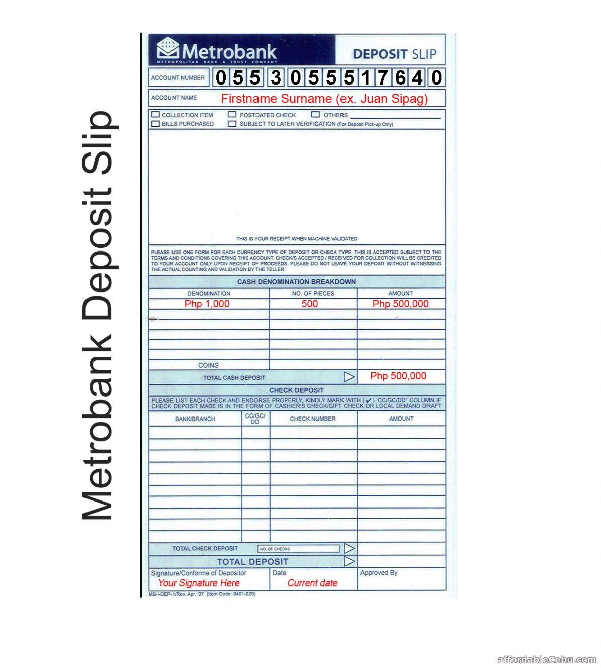 Browse Our Example Of Bank Deposit Slips Template Deposit Slip Templates