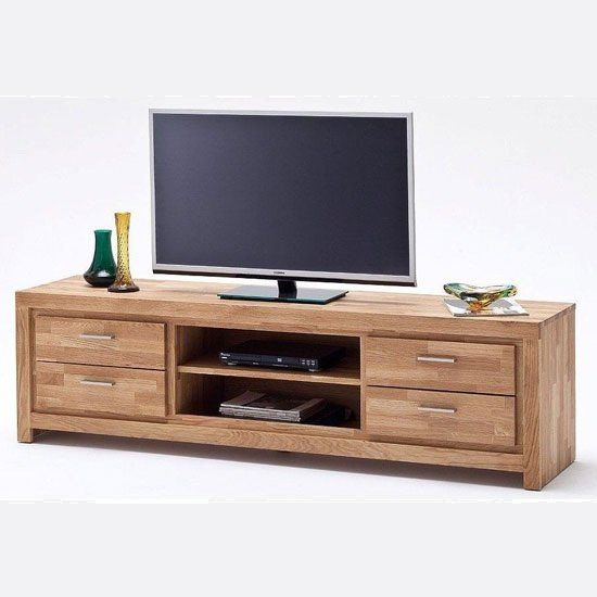 Knotty Oak Kitchen Cabinets: Santos LCD TV Stand In Solid Knotty Oak With 4 Drawers