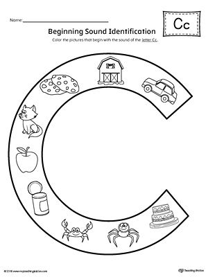 Letter C Beginning Sound Color Pictures Worksheet