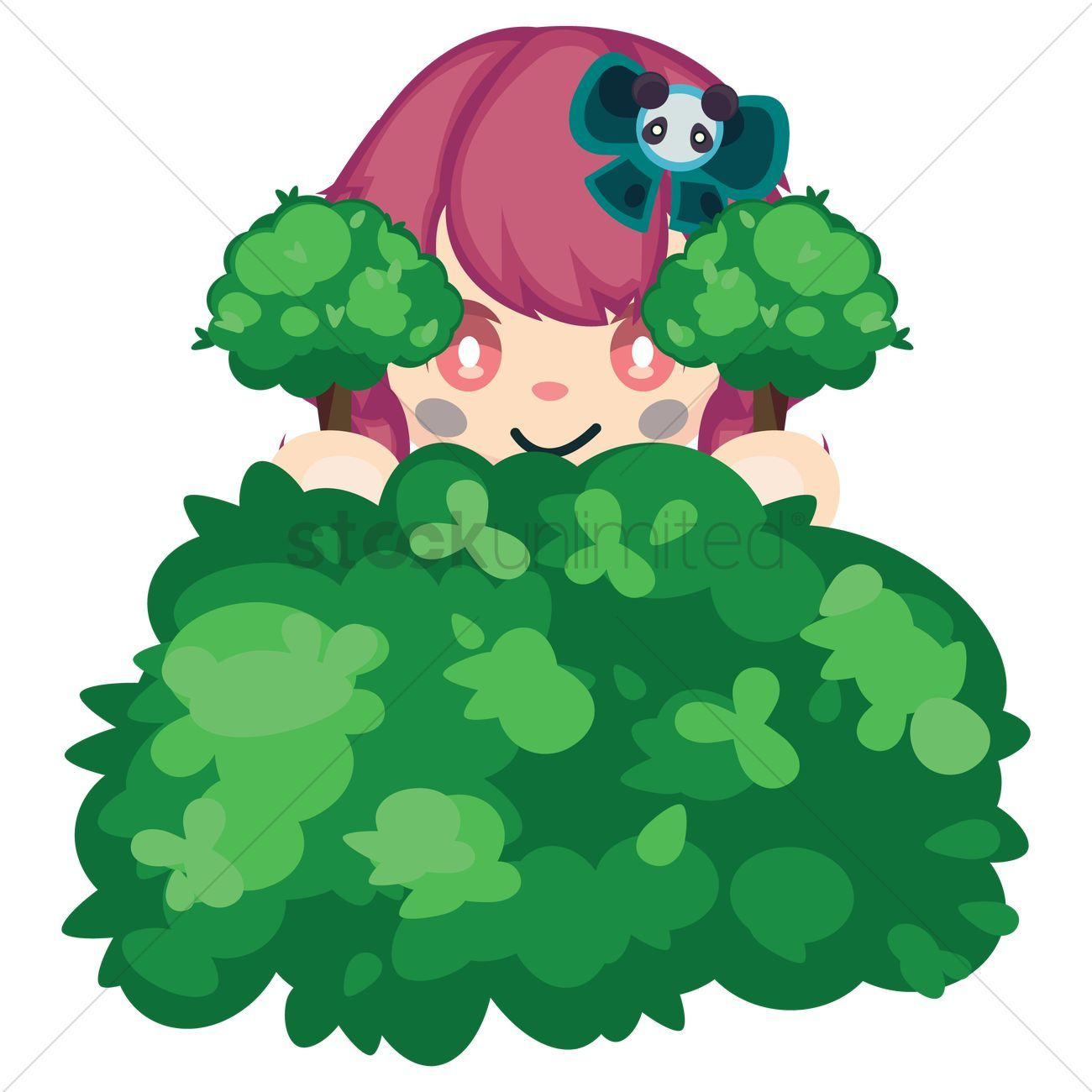 Girl Hiding In The Bushes Vectors Stock Clipart Affiliate