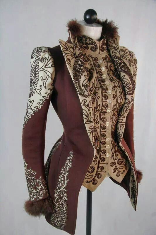 1890s embroidered fur collared jacket