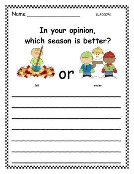 Opinion Writing Seasons Distance Learning Opinion Writing Kindergarten Writing First Grade Writing