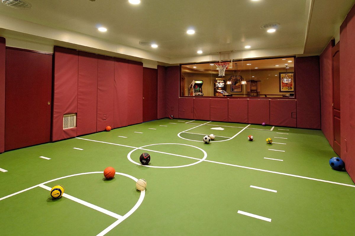 Basement kids game room - Basement The Space Includes An Indoor Sports Court A Dance Studio Home Cinema Arcade Games Area And Murphy Beds For Those All Important Sleep Overs