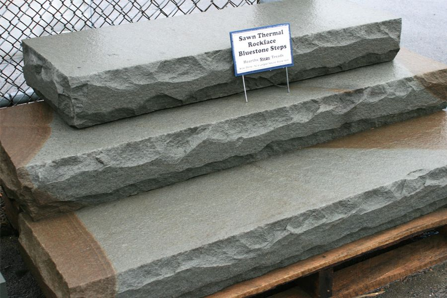 Sawn Thermal Rockface Bluestone Step Sample In Our New