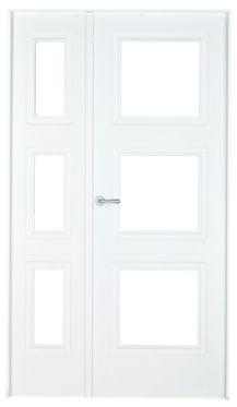 Puerta de interior sin cristal monaco lacada blanca doble - Puertas blancas exterior ...