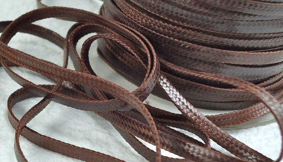 18ft Cord Waxed Flat Woven Brown Imitation Leather  by BestBobs, $2.85