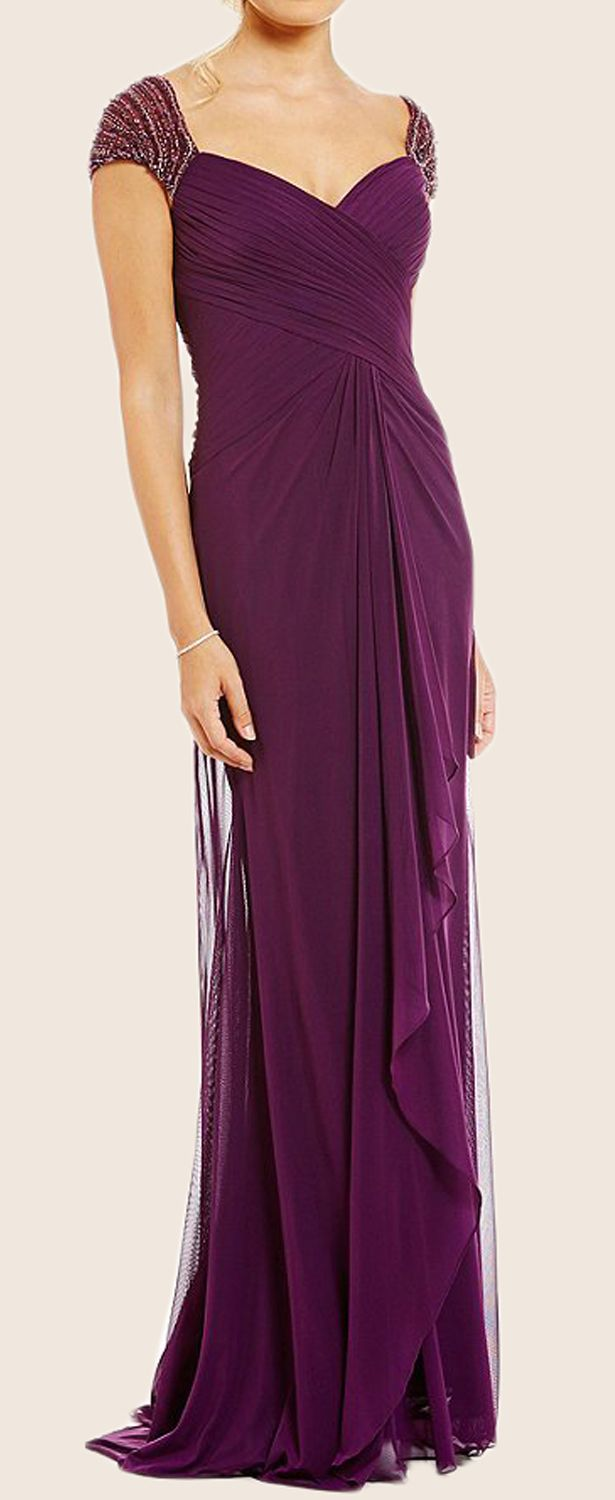 Cap Sleeves V Neck Chiffon Mother of the Brides Dress Purple Evening ...