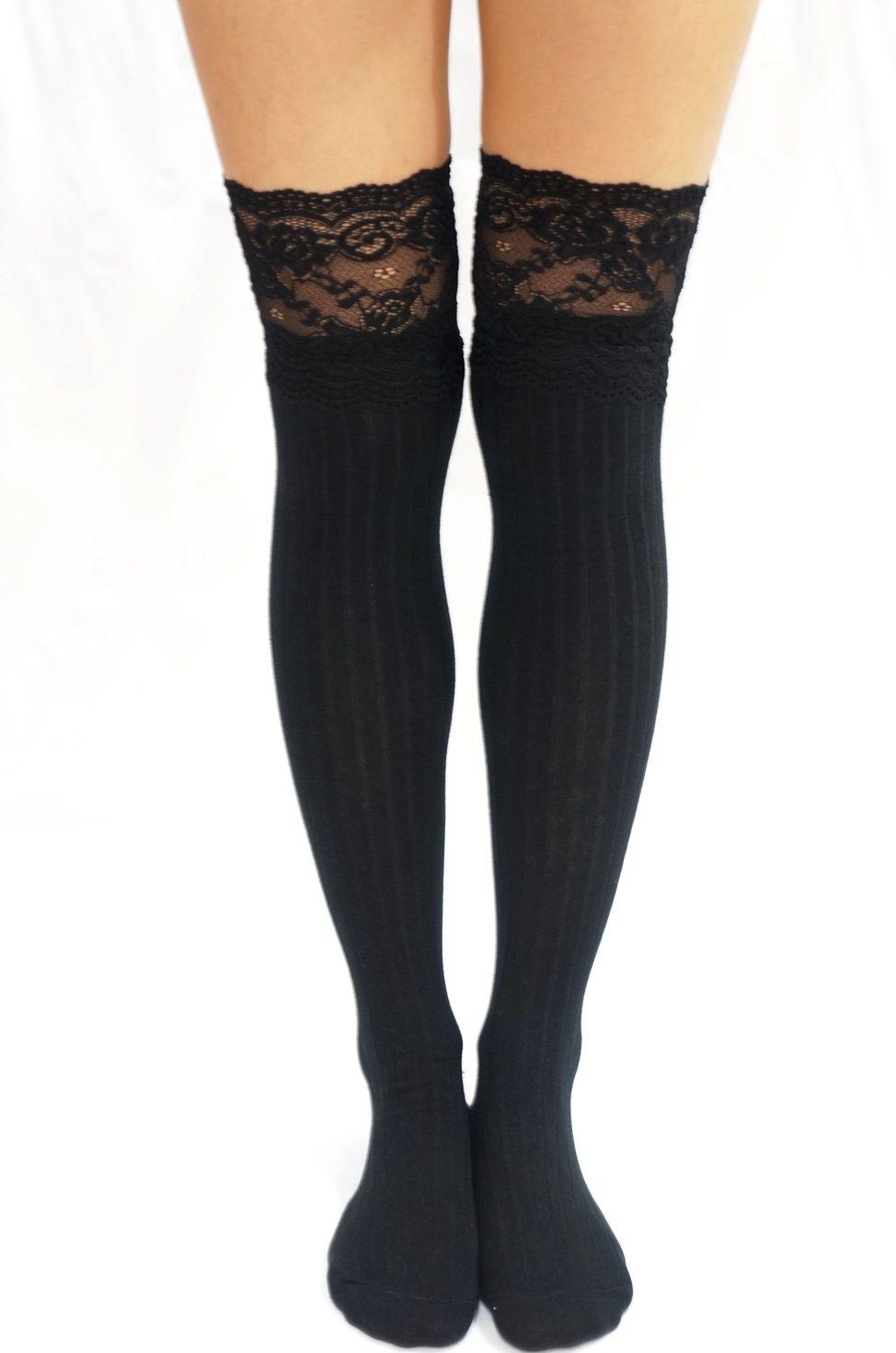 e9e9851f708d62 Thigh Lace Knit Knee High socks Boot socks -Black from Sandysshop ...