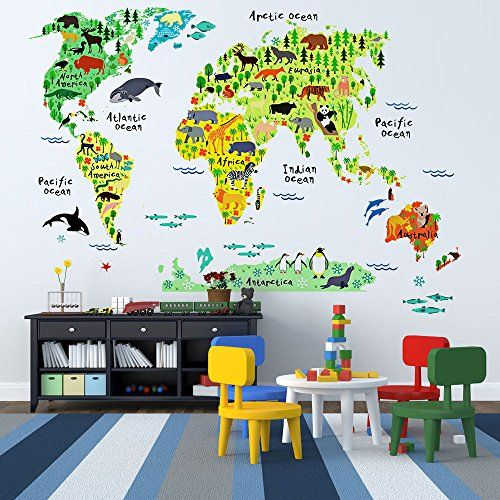 Educational Animal World Map Wall Stickers - DIY Removabl   - copy interactive world map amazon