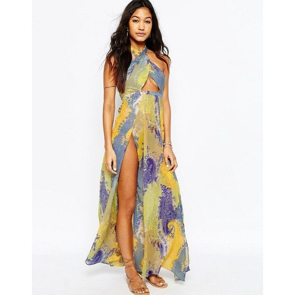 Asos Scarf Print Cross Neck Split Maxi Beach Dress Beach Maxi Dress Tall Maxi Dress Halter Top Maxi Dress