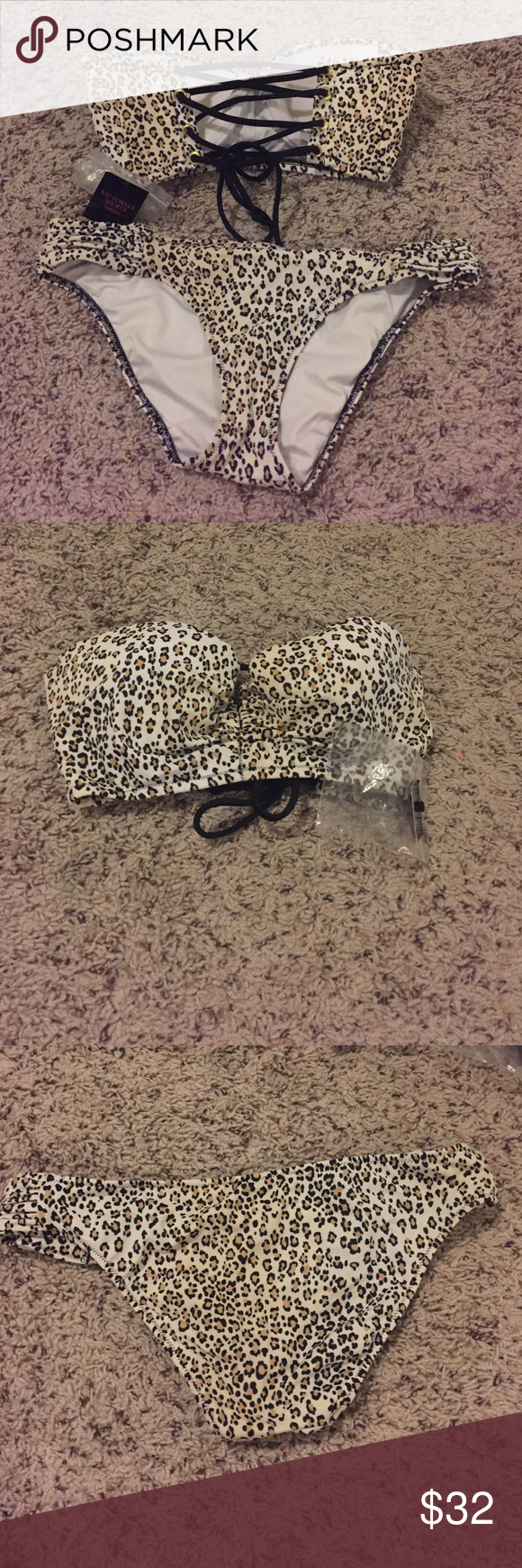 Victoria's Secret leopard lace up bikini Victoria's Secret leopard lace up bikini. Top size 32D, bottoms size small. Top is NWT, bottoms have only been worn once. Top is strapless and does not come with straps. Victoria's Secret Swim Bikinis