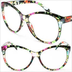 a7cf014711 Clear Frame Flower Colorful Frame Cat Eye Eyeglasses UV400 Vintage Eyewear  P9729