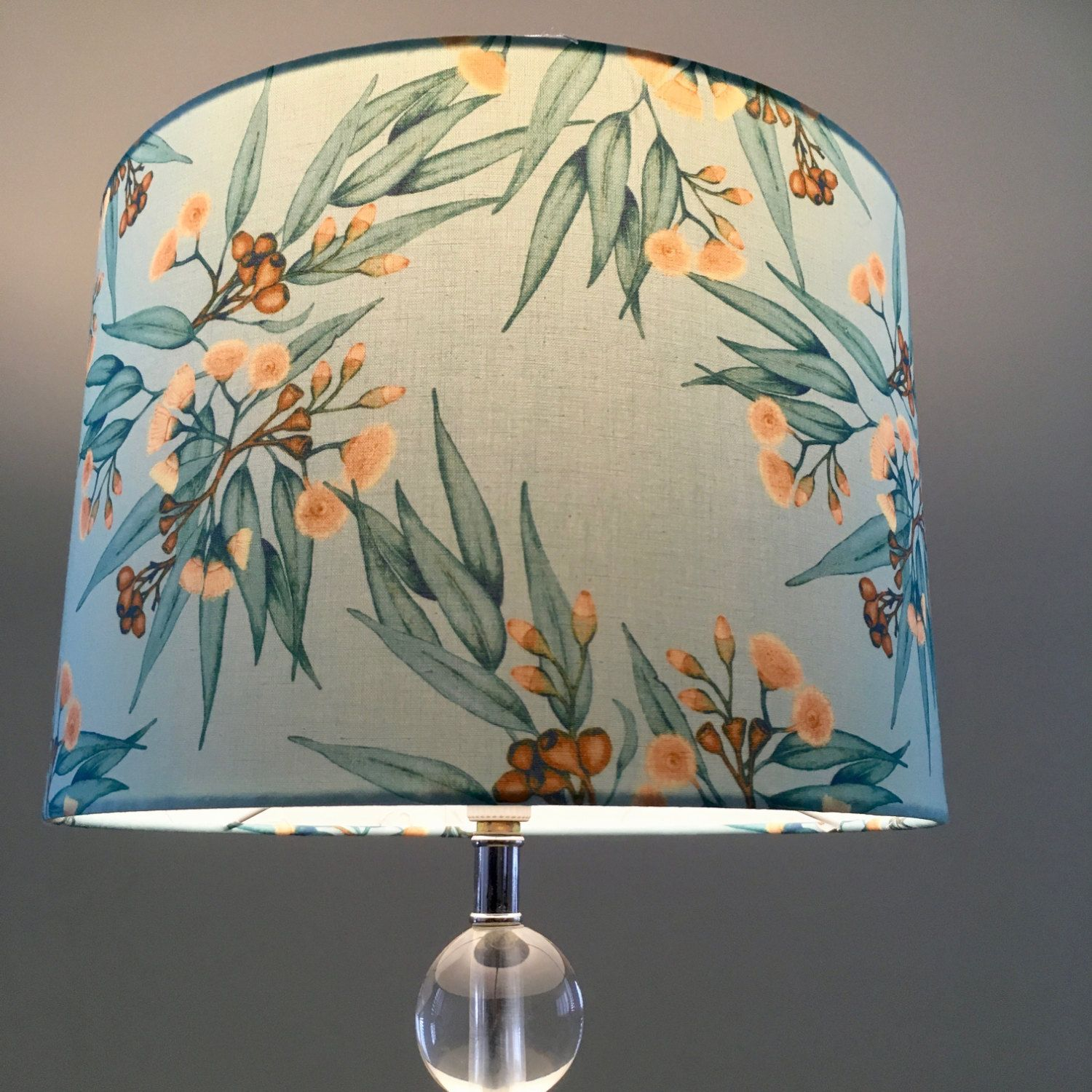 Eucalyptus And Gum Nuts Lamp Shade Mint Drum By Rooelliestudio Drum Lampshade Lamp Shade Cushions To Make