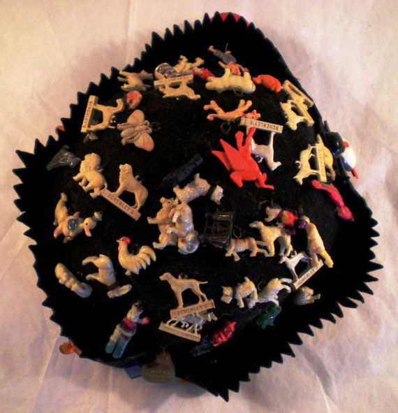 d677164fb Vintage 1940's Felt Beanie - Cracker Jack - Charms Hat | Vintage ...