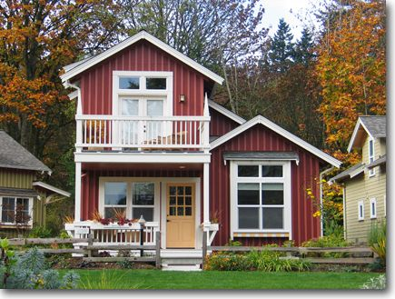 Two story cottage with balcony for the home pinterest for Small 2 story homes