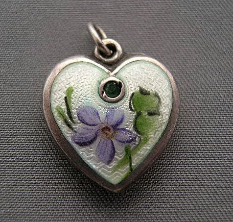 Walter Lampl Sterling and Enamel Violet Puffy Heart Charm