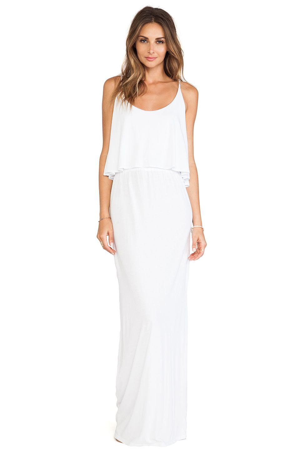 Bobi jersey tank maxi dress in white with images maxi