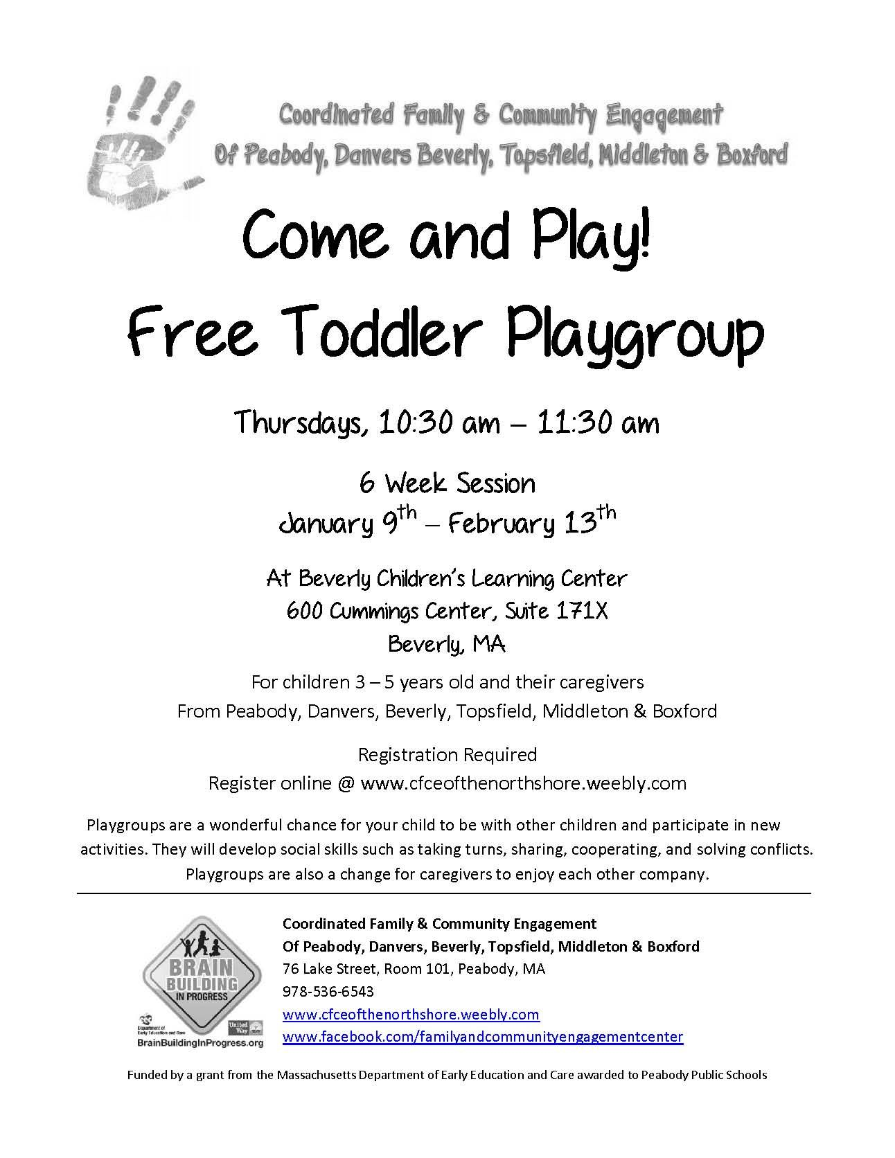 Free Beverly Toddler Playgroup