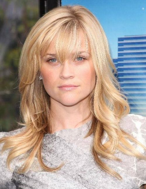 Medium Blonde Hairstyle With Bangs Length Hairstyles