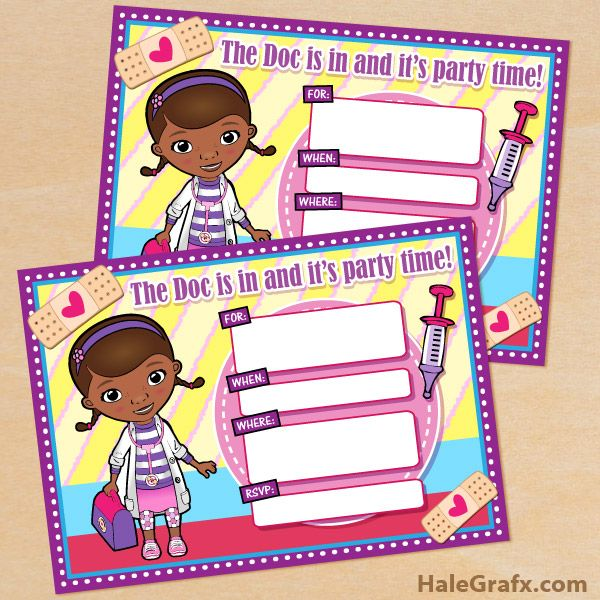 FREE Printable Disney Doc McStuffins Birthday Invitation Doc