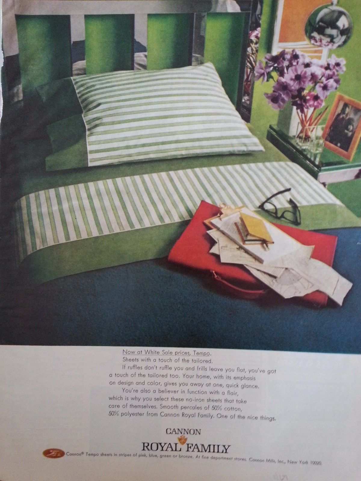 Vintage 1969 Print Ad For Cannon Royal Family U0027Tempou0027 Percale Bed Sheets In  Stripes Of Pink, Blue, Green, Or Bronze.