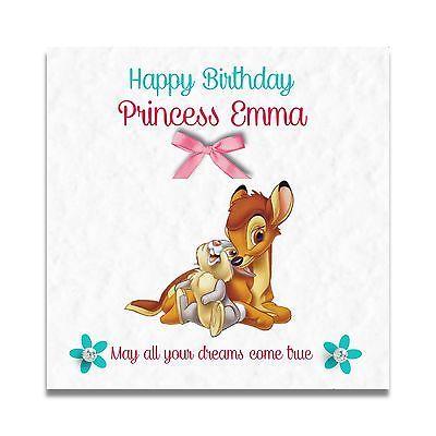 Handmade Personalised Girls Granddaughter Bambi 4th 5th 6th 7th Birthday Card Birthday Greeting Cards Birthday Greetings Personal Cards