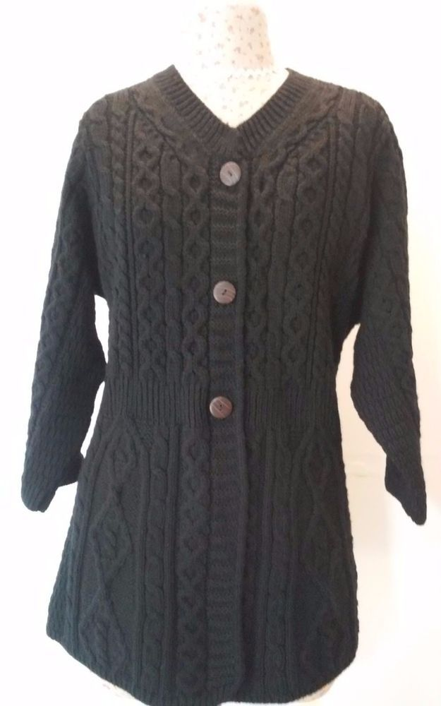 Kilronan Knitwear Sweater XL X-Large Black Cardigan 100% Wool 3/4 ...