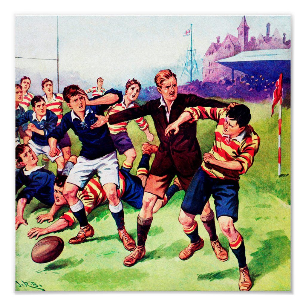 The Ref Steps In Vintage Rugby Poster Rugby Poster Rugby Art Rugby