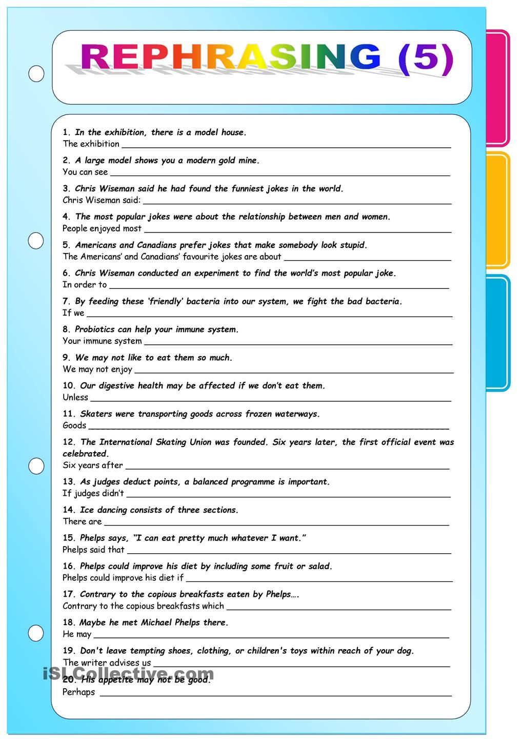 Rephrasing 5 Key Included English Teaching Resource Learn Language Learning Example Of Sentence Paraphrasing